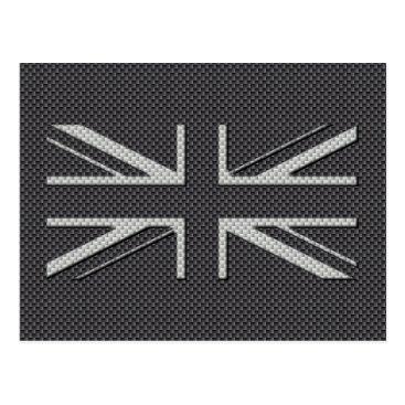 Disney Themed Black & Grey Carbon Fiber UK Flag Union Jack Postcard