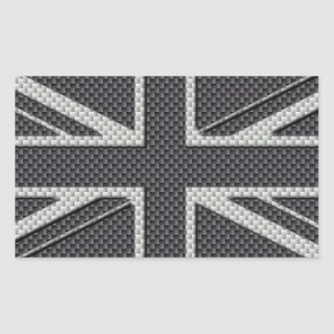 Beach Themed Black & Grey Carbon Fiber UK Flag Union Jack Rectangular Sticker