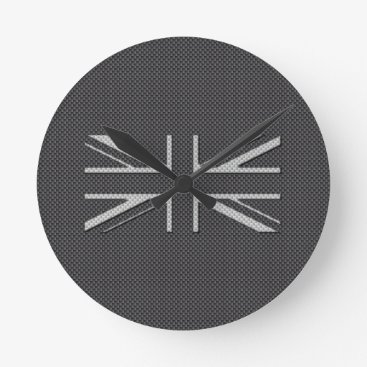 Disney Themed Black & Grey Carbon Fiber UK Flag Union Jack Round Clock