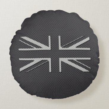 Beach Themed Black & Grey Carbon Fiber UK Flag Union Jack Round Pillow