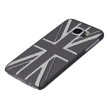 Beach Themed Black & Grey Carbon Fiber UK Flag Union Jack Samsung Galaxy S6 Case