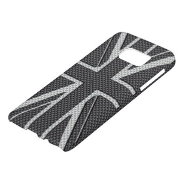 Beach Themed Black & Grey Carbon Fiber UK Flag Union Jack Samsung Galaxy S7 Case