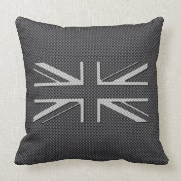 Disney Themed Black & Grey Carbon Fiber UK Flag Union Jack Throw Pillow