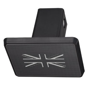 Beach Themed Black & Grey Carbon Fiber UK Flag Union Jack Tow Hitch Cover