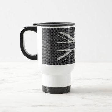 Beach Themed Black & Grey Carbon Fiber UK Flag Union Jack Travel Mug