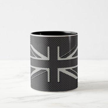 Beach Themed Black & Grey Carbon Fiber UK Flag Union Jack Two-Tone Coffee Mug