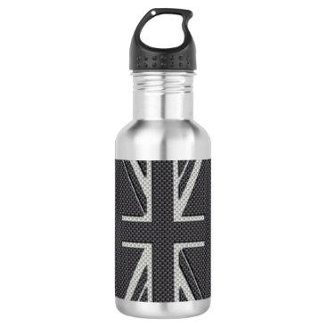 Beach Themed Black & Grey Carbon Fiber UK Flag Union Jack Water Bottle