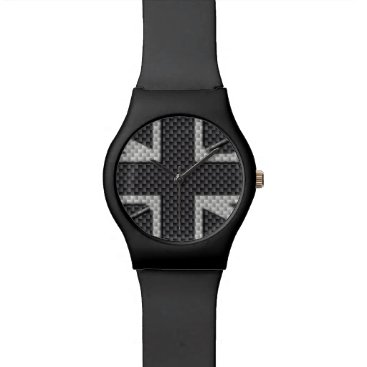 Beach Themed Black & Grey Carbon Fiber UK Flag Union Jack Wrist Watch