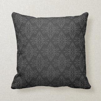 Black Grey Charcoal Damask Pattern Pillow