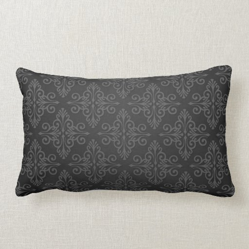 Throw Pillows For Charcoal Couch : Black Grey Charcoal Damask Pattern Throw Pillow Zazzle