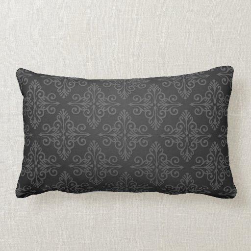 Black Grey Charcoal Damask Pattern Throw Pillow Zazzle