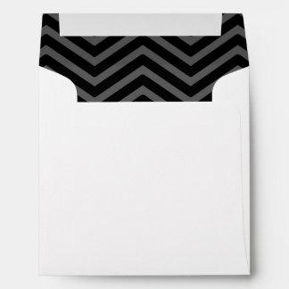 Black Grey Chevron Lined Envelopes