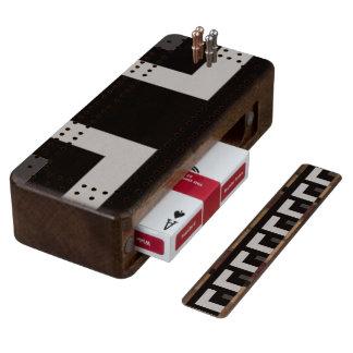 Black/Grey Color Corner (MB) Walnut Cribbage Board
