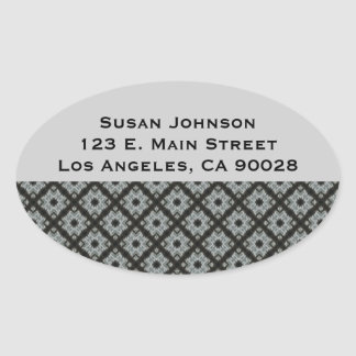 Black Grey CrissCross Oval Sticker