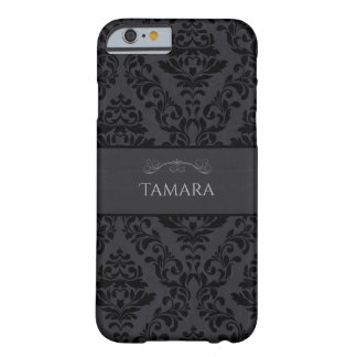Black & Grey Damask, Monogram Barely There iPhone 6 Case