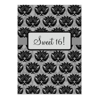 Black Grey Damask Sweet 16th Birthday Party 5x7 Paper Invitation Card