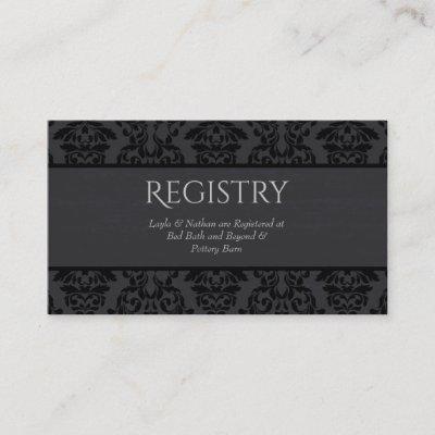 Black & Grey Damask Wedding Registry Card