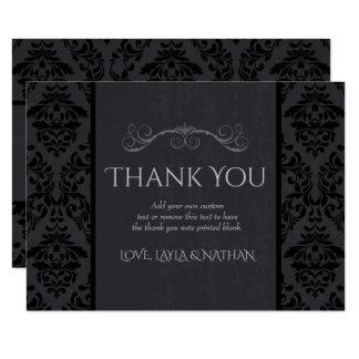 Black & Grey Damask Wedding Thank You Cards