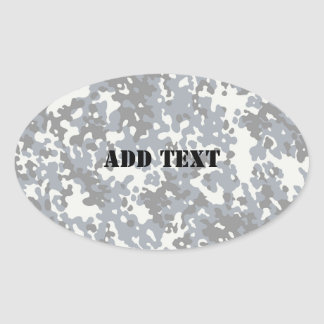 Black & Grey Digital City Camouflage (Lightened) Oval Sticker