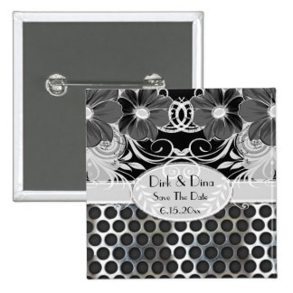 Black & Grey Feminine Floral Manly Metal Wedding 2 Inch Square Button