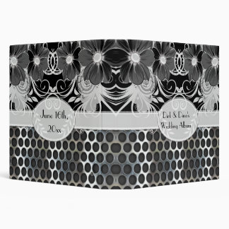 Black & Grey Feminine Floral Manly Metal Wedding Binder