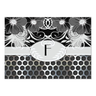 Black & Grey Feminine Floral Manly Metal Wedding Card