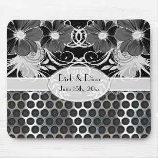 Black & Grey Feminine Floral Manly Metal Wedding Mouse Pad