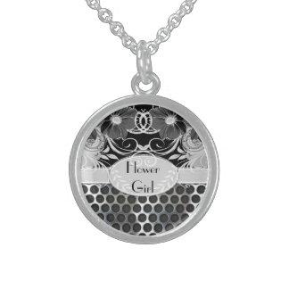 Black & Grey Feminine Floral Manly Metal Wedding Sterling Silver Necklace