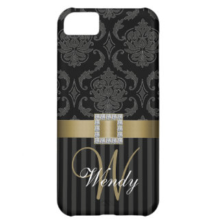 Black Grey Gold Damask Stripes iPhone 5 Case