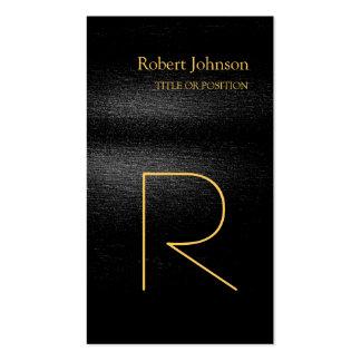 Black Grey Gold Monogram Business Card