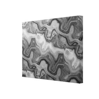 Black Grey Groovy Waves Canvas Print