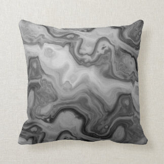 Black Grey Groovy Waves Pillow