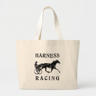Black Grey Harness Horse Silhouette Large Tote Bag
