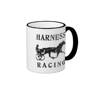Black Grey Harness Horse Silhouette Ringer Coffee Mug