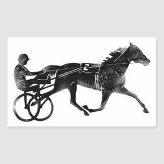Black Grey Harness Horse Silhouette Rectangular Sticker