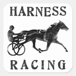 Black Grey Harness Horse Silhouette Square Sticker
