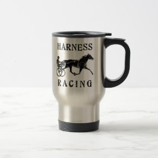 Black Grey Harness Horse Silhouette Travel Mug