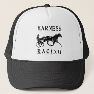 Black Grey Harness Horse Silhouette Trucker Hat
