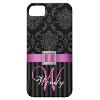 Black Grey Hot Pink Damask Stripes iPhone 5 Cases