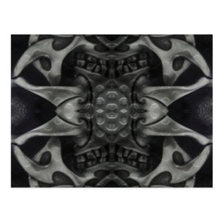 black grey medieval metallic design postcard