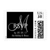 Black Grey Modern Initial Wedding RSVP Postage