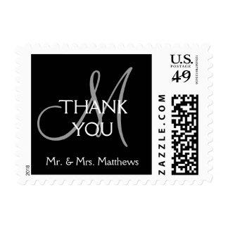 Black Grey Modern Initial Wedding Thank You Postage