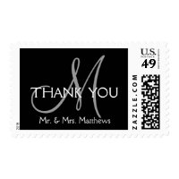 Black Grey Modern Initial Wedding Thank You Postage