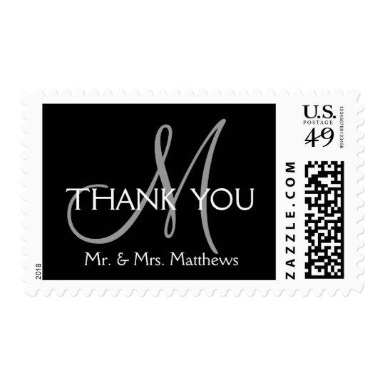 Black Grey Modern Initial Wedding Thank You Postage Stamp