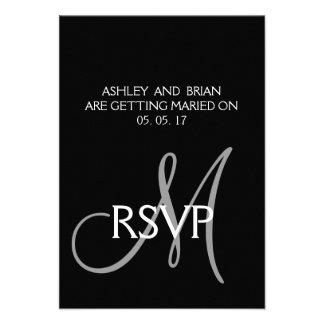 Black Grey Modern Simple Wedding RSVP Card