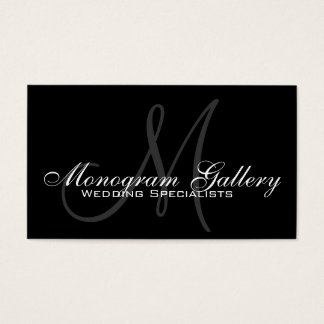 Black Grey Monogram Customizable Business Card