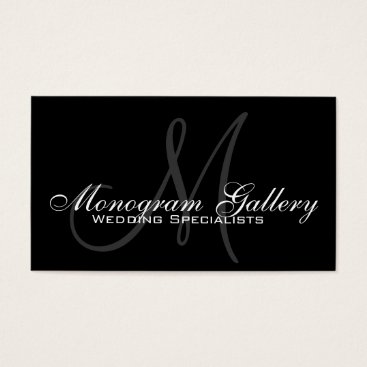 Professional Business Black Grey Monogram Customizable Business Card