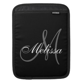 Black Grey Monogram M Initial First Name Sleeve For iPads