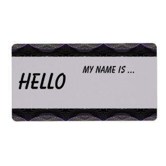 black grey name badge shipping label