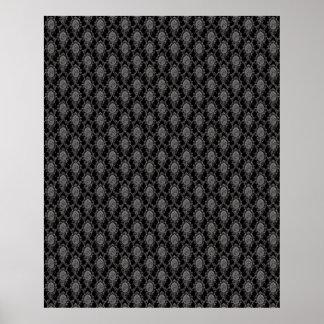 Black & Grey Old Victorian Pattern Design Texture Poster